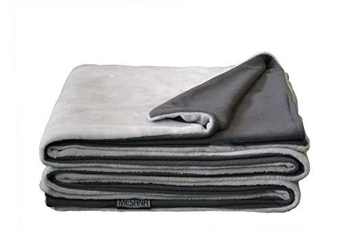 MESANA Wohndecke Decke Bella grau Wendeoptik Polyester Microfaser-Nicky Plüsch 150x200cm Tagesdecke Kuscheldecke Zudecke Sofadecke kuschelig warm