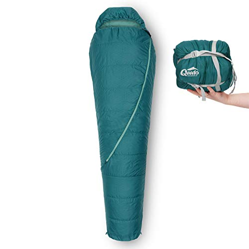 Qeedo Hitazo Schlafsack, Mumienschlafsack, leicht, kleines Packmaß, 225x80 cm (LxB) - türkis
