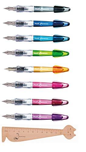 Blumie Shop - Juego de 8 plumas de colores surtidos + 1 regla marcapáginas de madera Blumie