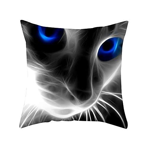 MissW Funda De Almohada Decorativa Impresa En 3D De Gato con Cremallera Funda De Almohada Lavable Funda De Cojín Adecuada para Coche Sofá Oficina