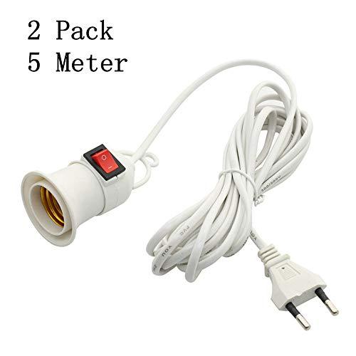 2 Pack Lampenfassung E27 mit Kabel 5m und Schalter und Haken, Weiß
