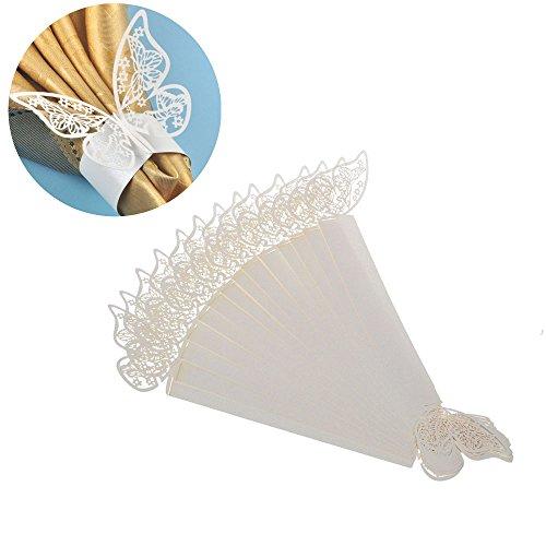 ElecMotive 50 Stück Schmetterling Serviettenringe Hochzeitsfeier Tischdekoration Papier Stoffservietten Ring (Weiß)