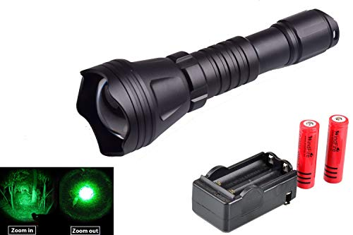 WINDFIRE WF-158 Cree Green LED Hunting Flashlight 350 Yards Zoomable Hunting Light Cree LED Coyote Hog Hunting Flashlight Light Lamp Torch + 2X 18650 Rechargeable Batteries