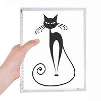 ロングテールの黒猫の動物のシルエット 硬質プラスチックルーズリーフノートノート