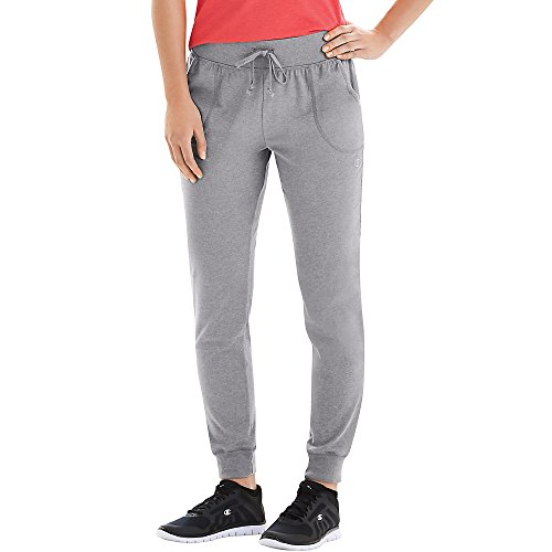 Champion by Women's Jersey Elastic Ribbed Waistband Pocket Pants_Oxford Grey_L