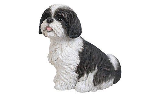 Vivid Arts Sitting Shih Tzu Dog Resin Ornament - Black/White