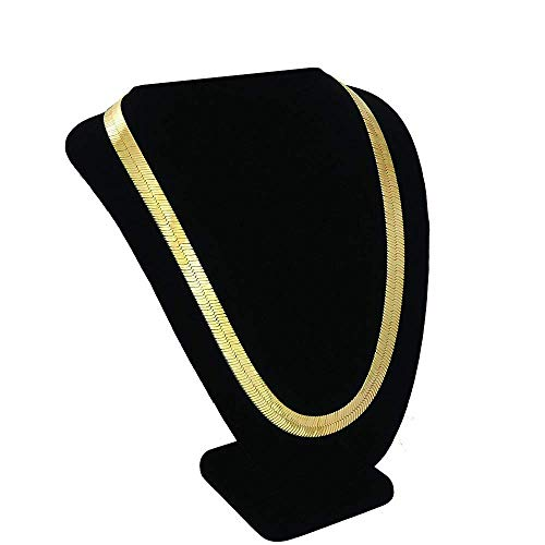 TUOKAY 18K Faux Gold Herringbone Chain Necklace, Fashion Hip Hop Fake Gold Flat Snake Chain for Women and Men School Rapper Kit Costume Accessory, Sparkling Faux Gold Chain Necklace. 24' 7mm