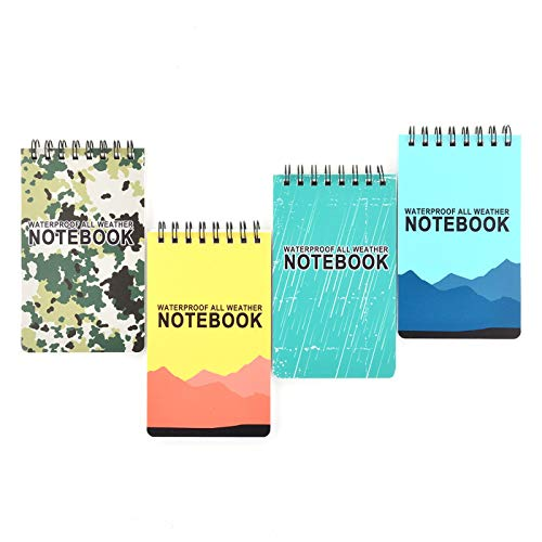 Zuzer Quaderno Impermeabile,4 Pezzi Taccuino Tascabile Piccolo Waterproof Notebook Taccuini Tascabili per Registrazione Attività All aperto(12.6x7.6cm)