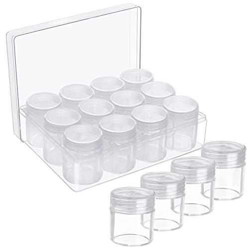 BELLE VOUS Set Caja Transparente de Plástico para Abalorios – 12 Tarros de Plastico con Tapa Pequeños para Pintura de Diamantes, Joyas, Nail Art, Pendientes, Purpurina y Bordado - Removibles