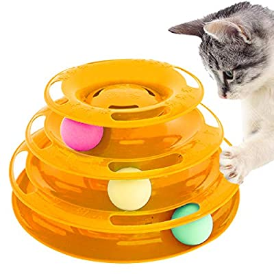 Purrfect Feline Titan's Tower - New Safer Bar Design, Interactive Cat Ball Toy, Exerciser Game, Teaser, Anti-Slip, Active Healthy Lifestyle, Suitable for Multiple Cats 3 Tier (3 Level, Orange)