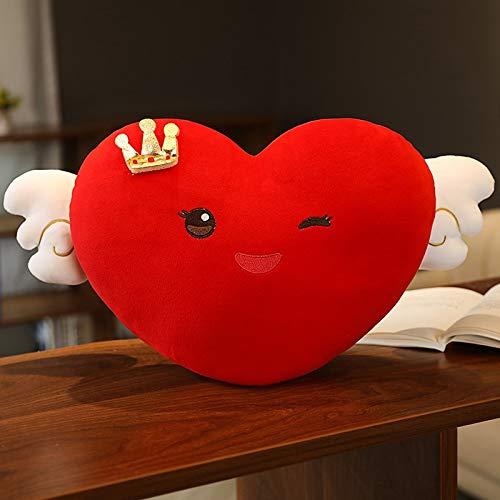 N / A Schönes super weiches Smiley-Herz mit Kronen-Plüschkissen Gute Qualität Gefülltes Spielzeug Nette Puppe für Kinder Mädchen Geburtstagsgeschenke 50cm