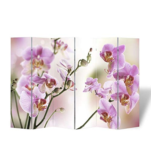 Big Save! Room Divider, 5.6Ft Tall 6 Panels Wood Freestanding Privacy Screen with Double-sided Flowe...