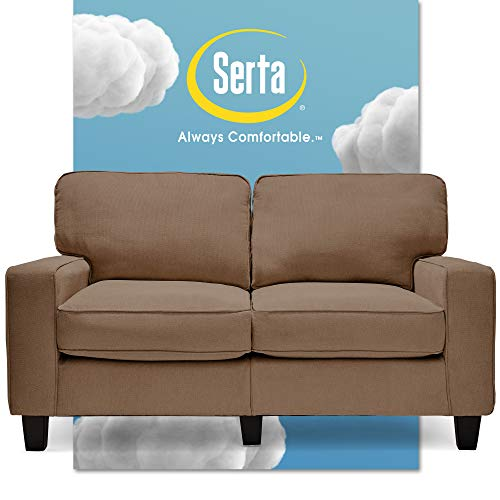 "Serta Palisades Upholstered Sofas for Living Room Modern Design Couch, Straight Arms, Soft Fabric Upholstery, Tool-Free Assembly, 61"" Loveseat, Tan"
