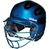 Wilson Metallic Slick - Casco de bateador de dos tonos con máscara facial para jóvenes