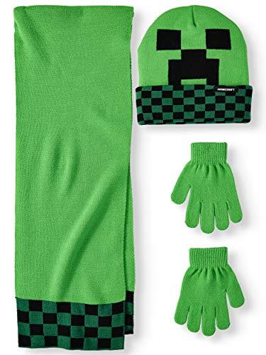 Minecraft Set mit Schal, Mütze, Handschuhe, 3 Stück