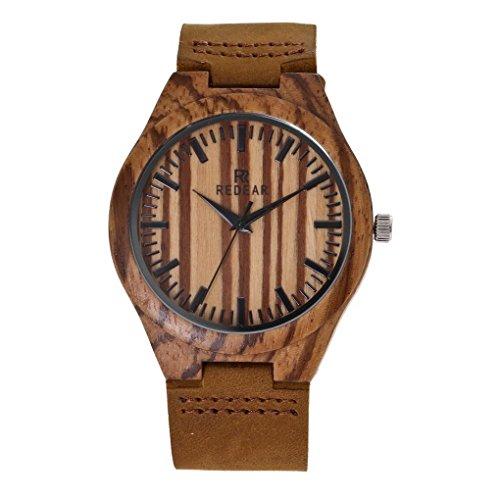Orologio da polso da uomo, in legno giapponese, analogico, casual, con cinturino in vera pelle