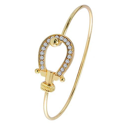 MANZHEN Crystal Lucky Horseshoe Bangle Open Hook Bangle Bracelet for Horse Lover (Gold)