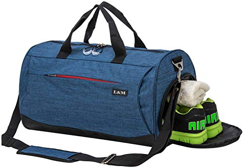 marcello Sports Gym Bag with Wet Pocket & Shoes Compartment Travel Duffel Bag for Men and Women (Navy Blue, Medium)