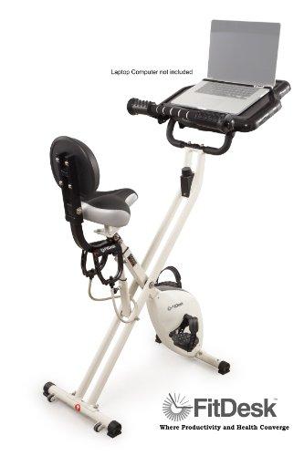 FitDesk 2.0 Adjustable Desk Exercise Bike with Massage Bar - Desk Bike to Work while Exercising