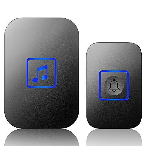 Timbre inalámbrico, kit de timbre de puerta con 60 melodías, 4 niveles de volúmenes y flash LED, fácil configuración para el hogar y la oficina (1 receptor + 1 botón, negro)