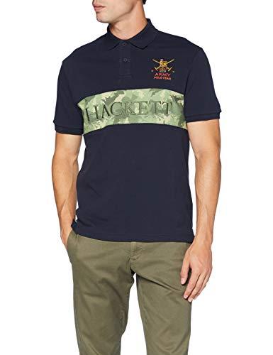 Hackett Herren Army CAMO Panel Poloshirt, Blau (5cwnavy/Green 5cw), Large (Herstellergröße: L)