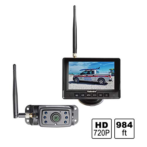 Haloview MC5111 5 720P HD Digital Wireless Backup Camera System 5 LCD Rear View Monitor and IP69K Waterproof Reversing Built in DVR Kit for Trucks/Trailer/Bus/RVs/Pickups/Camper/Vans