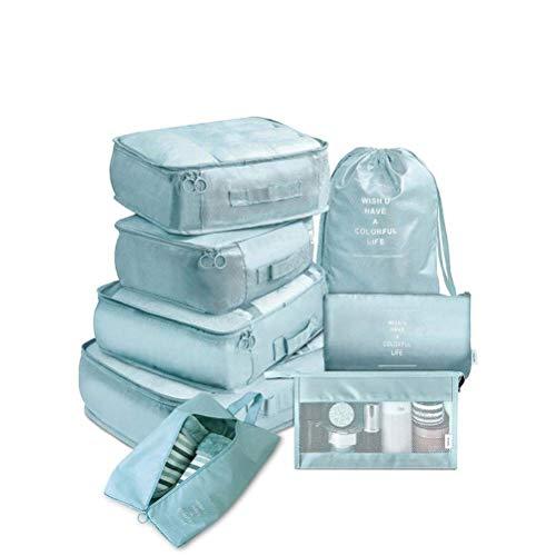 Cubos de embalaje de viaje, multifunción 8pcs / set Cubos de viaje Organizador de equipaje Bolsa de maleta de compresión de viaje Bolsa esencial de viaje (Color: Azul), Mochila deportiva al aire li