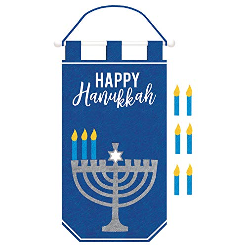 'Happy Hanukkah' Banner with Candle Add-Ons, Rod & Rope Hanger, 11.3' W x 19.5' H, 1ct