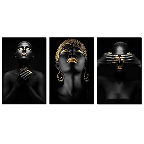 VIAYA 3 Pcs African American Wall Art Canvas Black Woman Portrait Photography with Gold