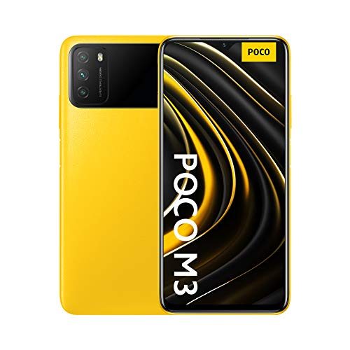 "Poco M3 - Smartphone 4+64GB, Pantalla 6,53"" FHD+ con Dot Drop, Snapdragon 662, Cámara triple de 48 MP con IA, batería de 6000 mAh, POCO Yellow"