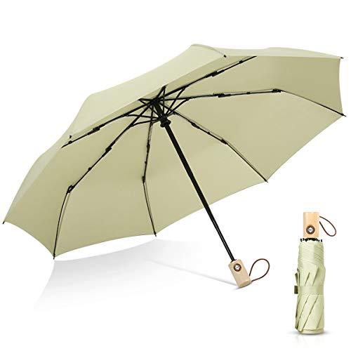DORRISO Paraguas Plegable Mujer Apertura y Cierre Automático Paraguas Plegable Compacto Anti- Viento y Nieve y hidro-Repelente Duradero Paraguas de Viaje Verde