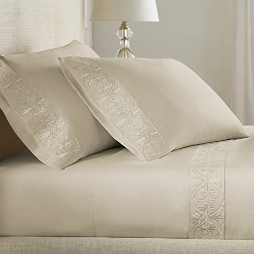Pure Parima Luxury High End Embroidered 100% Certified Egyptian Cotton Sheet Set | Extra-Long Staple | Cool, Breathable, Ultra Comfort | Tone-on-Tone Scroll Embroidery | All Natural (Tan, Queen)