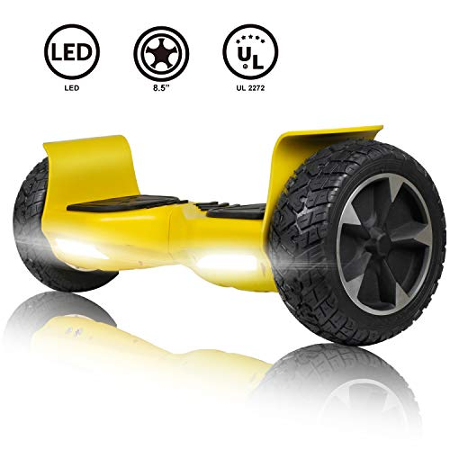 CBD Off Road Hover Board, All Terrain Hoverboard for Kids, 8.5 Inch Two-Wheel Self Balancing Hoverboard for Adults-Yellow