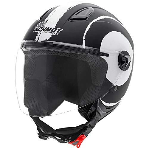 Germot GM 196 Jet Helm Roller Motorrad Stadt Visier Belüftung Chopper Komfort Schnellverschluss, 000196, Farbe Schwarz Weiß, Größe L