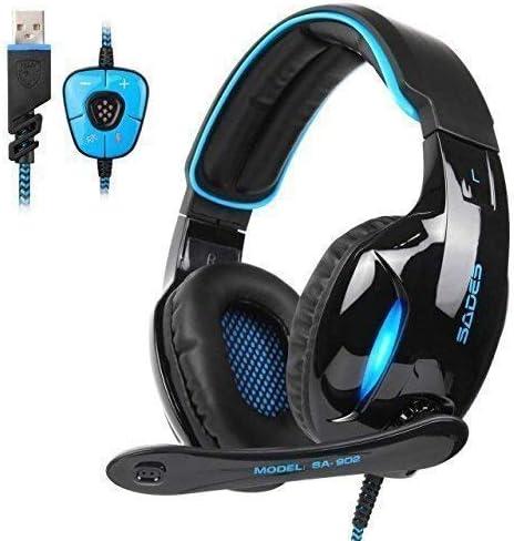 Sades SA902 Dolby Stereo Surround 7.1 USB Cuffia Gaming con Microfono da Gioco Gamer LED Luce Regolatore di Volume pe...