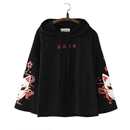 Sencillo japonés Texto Moda De Moda Estético Minimalista Elegante Zorro Sukura Diseño Largo Mangas Capucha Chaqueta
