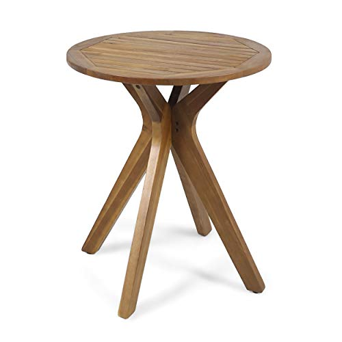 Christopher Knight Home 304870 Brigitte Outdoor Round Acacia Wood Bistro Table with X Legs, Teak