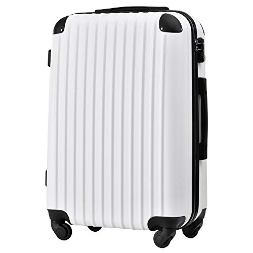 [トラベルハウス] Travelhouse スーツケース キャリーバッグ キャリーケース 超軽量 TSAロック搭載 機内持込 360度回転 ファスナー式 国際的 半鏡面 人気色【一年安心保証】(25色4サイズ対応) (Mサイズ(64L/4-7宿泊), ホワ
