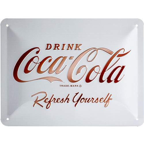 Nostalgic-Art Cartel de Chapa Retro Coca-Cola – Logo White – Idea de Regalo Aficionados a la Coke, metálico, Diseño Vintage Decorativo, 15 x 20 cm