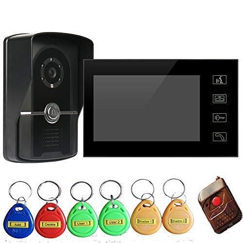 """7"""" Timbre Intercomunicador Video Portero (700TVL Cámara de Vigilancia, 1 Monitor, 6 Tarjeta ID, Controlador Remoto, Visión Nocturna) Resolución de la Imagen: 840x480 - Modelo: 806FGIDS11"""