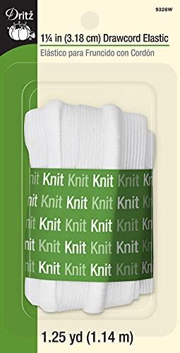 Dritz 9328W Drawcord Knit Elastic, White, 1-1/4-Inch by 1-1/4-Yard