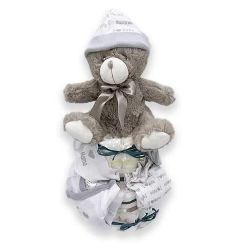 Tarta pañal DODOT UNISEX - Regalo recién nacido - Incluye ropa bebé y DEDICATORIA (2 pisos)