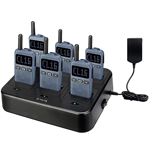 Retevis RB19 Walkie Talkies for Adults, Portable Rechargeable Two Way Radio, FRS 22 Channel, Ultra-Thin, License-Free,1650mAh Battery (6 Pack),with 6 Way Multi Charger