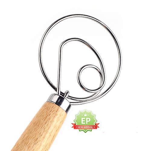 """Fouet à pâte à pain de 13 """", fouet à pâte danois de qualité professionnelle, mélangeur, batteur à oeufs, manche en bois, fouet à pâte à pain fouet batteur à oeufs batteur poignée en bois accessoires"""