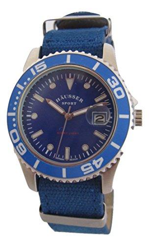 Häusser Sport Armbanduhr Blau Textilband Quarz Unisex Sport Neu