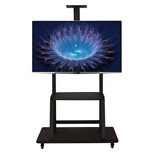 SHIJINHAO TV Floor Stand With 2 Steel Structure Shelves For 32-65 LED OLED LCD Plasma Flat Curved Screens Height Adjustable Max. VESA 600x400mm Up To 100KG (Color : Black, Size : 70x43x180cm)