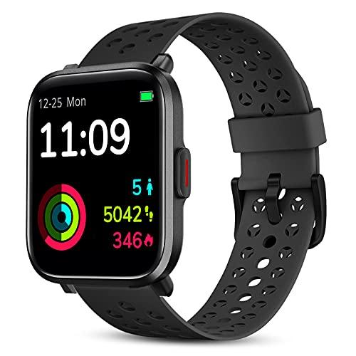 Smartwatch, 1,3 Zoll Voll Touchscreen Fitnessuhr mit 18 Sportmodi Personalisiertem Bildschirm, Herzfrequenz, Schrittzähler 5ATM Wasserdicht, Smart Watch Damen Herren für Android iOS