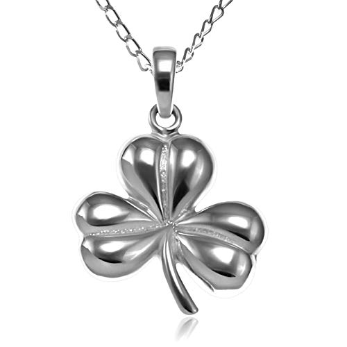 Alexander Castle Sterling Silver Celtic Irish Shamrock Pendant Necklace with 18' Chain and gift box. Great woman's gift for Christmas or Birthday's