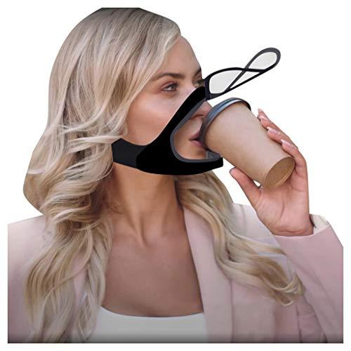 Yue668 Zweischichtige Atmungsaktive Gesichtsbedeckung Mit Klarem Fenster Sichtbarer Ausdruck Für Gehörlose Und Schwerhörige, Öffnen Sie Transparente Mundbedeckung Mundschutz Für Männer Frauen (B)
