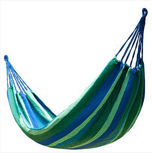 Camping hangmat Portable 2 Persoon Outdoor Camping Garden Beach Travel Canvas Hangmat Rode streep 260x100cm (Color : Blue stripes, Size : 260x100cm)